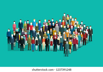 Concept of leadership and direction. Crowd of people gathered in an arrow shape. Flat design, vector illustration.