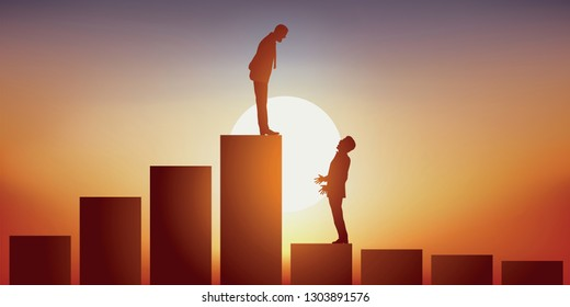 concept of leadership, with a senior businessman who passes on his business to his young successor at the top of a staircase symbolizing hierarchy and social climbing