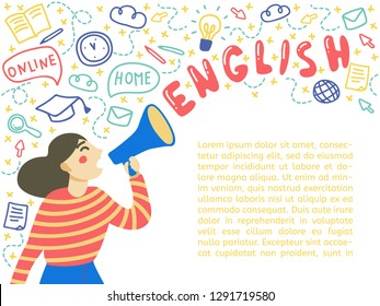 Concept of learning English language. Young woman announces a megaphone. Space for text. Isolated vector on white background, hand  drawn doodle style