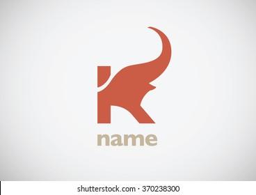 Concept letter K in Elephant shape vector logo