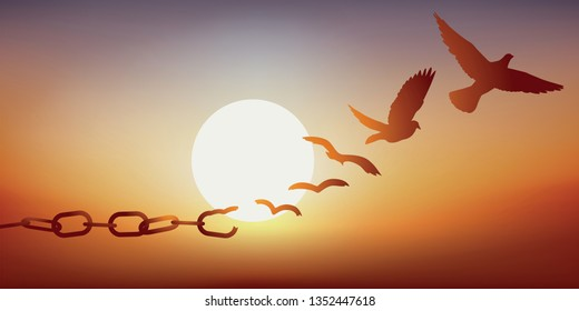 Concept of liberty found, with chains breaking and turning into a dove flying off at sunset.