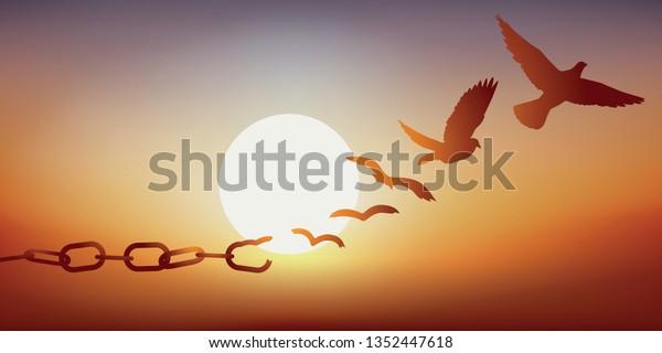 Konzept der Freiheit gefunden, mit Ketten brechen und verwandeln sich in eine Taube bei Sonnenuntergang abfliegen.