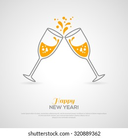 Concept with line style glass and sparkling champagne inside. Vector illustration. Place for text message.