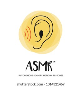 Concept of listening ASMR, pictogram of ear with sound waves.