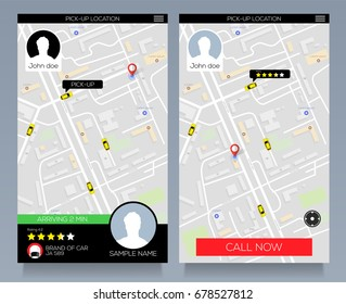 Concept of location service, pick up taxi cab, app on mobile phone. Vector eps10