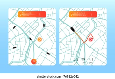 Concept of location service. pick up taxi service app on mobile phone. Vector illustration