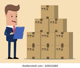 Concept logistics business. Businessman, manager or logistic stands near boxes. Vector, illustration