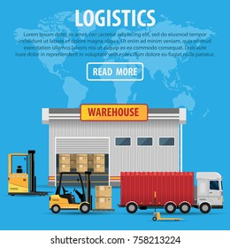 The concept of a logistics center. Delivery and transportation of logistics goods, warehouse goods, forklift truck, machine, car on blue background vector illustration