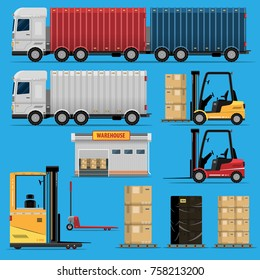 The concept of a logistics center. Design elements of loading, unloading and delivery of goods. Truck, forklift truck, warehouse, boxes isolated on blue background vector illustration flat