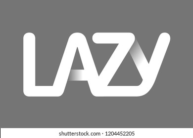 Concept Logo. Flat Vector Design Element. The word Lazy, composed of intertwined letters.
