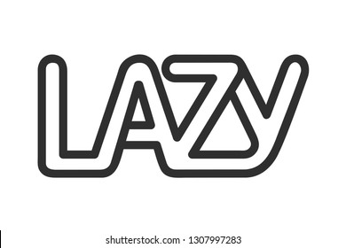 Concept Logo. Flat Vector Design Element. The word Lazy, composed of intertwined letters