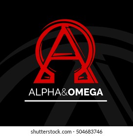 Concept logo icon design of Alpha and Omega symbol - from beginning to end or first and last. Red and white vector illustration on black background.
