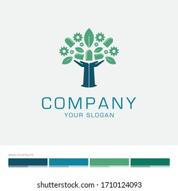 Concept logo resembling two hand in the shape of a tree with leaves and window/industrial elements. Editable vector file with color palette.