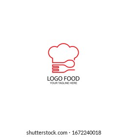 the concept of the logo, the symbol of the chef's hat, spoon and fork
