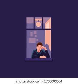 concept of loneliness, in the form of a silhouette of a man in the city night window. symbol of expectation and thoughtfulness