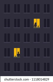 concept of loneliness, in the form of a silhouette of woman and  man in a city window at night. Symbol of expectation, dreams and destinies