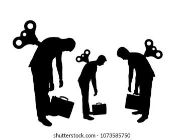 Concept of long hours of work . Vector silhouette of the tired workers with a clockwork mechanism on the back at sunset