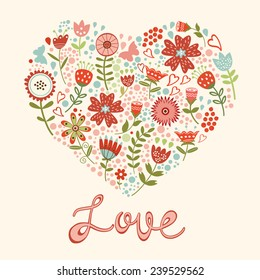 Concept love card with floral heart and handwritten love lettering. vector illustration