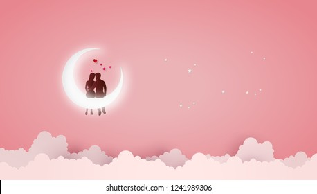 Concept of Love and Valentine day ,Couples sit on Crescent moon. Paper art 3D from digital art and craft.
