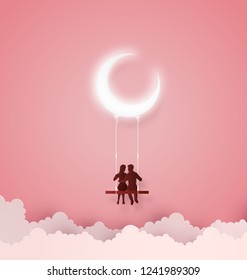 Concept of Love and Valentine day ,Couples sit on swing with crescent moon. Paper art 3D from digital art and craft.