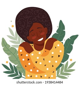 Concept of love yourself, care, acceptance, healthy lifestyle. African american woman with closed eyes smiles and hugs herself. Body positive and mental health. Happy female cartoon character