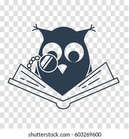 concept of loving reading in the form of an owl reading book. silhouette , icon in linear style