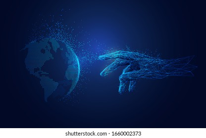 concept of machine learning or internet of things (IOT), futuristic polygon hand reaching to dotted globe