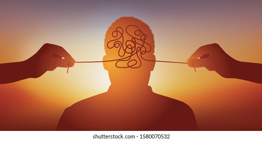 Concept of madness and mental illnesses with a man seen from the front and hands pulling a thread to symbolically untie the knots of his brain.
