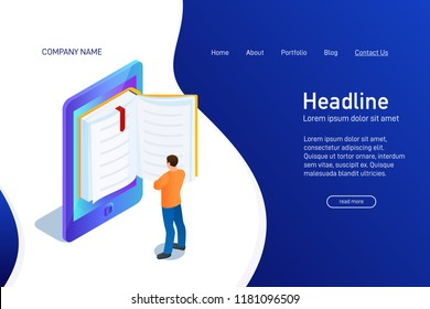 Concept of main page of web site with eBook. Landing page design with isometry. Person, man is standing and reading 3d eBook. Vector illustration.