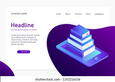 Concept of main page of web site with eBook library. Landing page design with isometry. 3d paper books on phone screen, eBook storage, distance learning. Vector illustration.