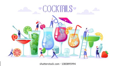 Concept of making refreshing, summer and alcoholic cocktails with fruit, ice and mint leaves. Flat people character, bartender, making bright and tasty cocktails using the bartender's tools.