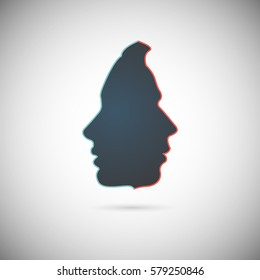 The concept of male and female psychology. Icons silhouette profile of a man with a head combine two elements of human nature of yin and yang. Vector EPS 10 for psychological page cover book, magazine
