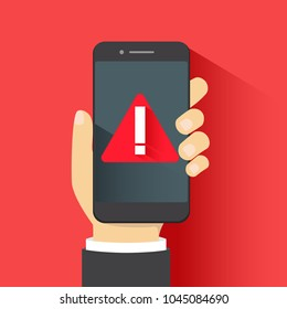 Concept of malware notification or error in mobile phone. Red alert warning of spam data, insecure connection, scam, virus.