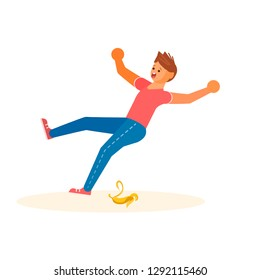Concept of the man slipped on a banana peel and falls isolated on white background. Vector illustration eps