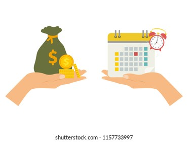The concept of managing your time and money. Time is money or time to pay. Financial planning, deadline and time management, payment day. Vector illustration.