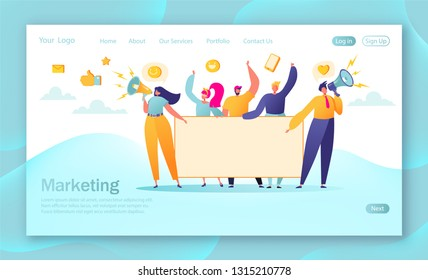 Concept of marketing team landing page. Team work with flat business people characters holding horizontal empty banner. Teamwork advertising concept , announcement, presentation. Marketing  concept.