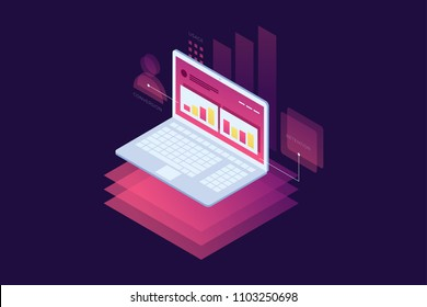 Concept of marketing techniques. Website and search engine optimization. Image of notebook with charts of successful business growth. Isometric vector illustration for web page, banner, presentation.