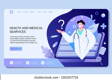 Concept of a medical contract between a doctor and patients. Characters isolated on a white background.