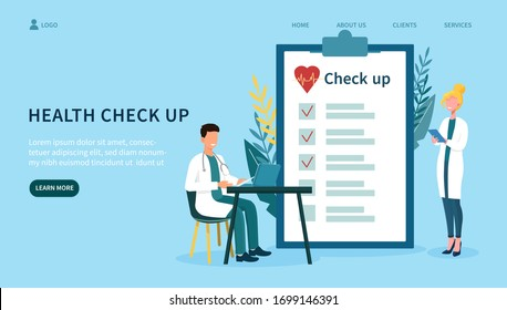Concept of medical health check up, with two doctors, man working on laptop and woman standing near a big clipboard of health checklist. Flat vector illustration