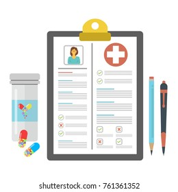 The concept of medication, prescription of medicines. Filling the health insurance, medical card, prescription, medical certificate, clinical record, medical check marks report. Vector illustration.