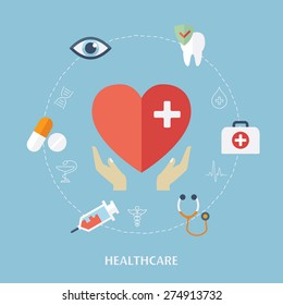 Concept for medicine healthcare. Medical icons. Flat design vector for web