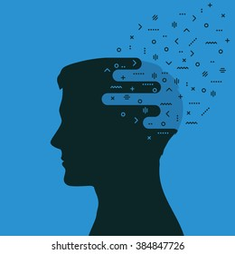 Concept of memory loss. Head on blue background. Flat design, vector illustration.