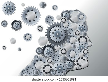 Concept of memory that fades away with the head of a man made of escaping gears symbolizing the ability of reflection that disappears