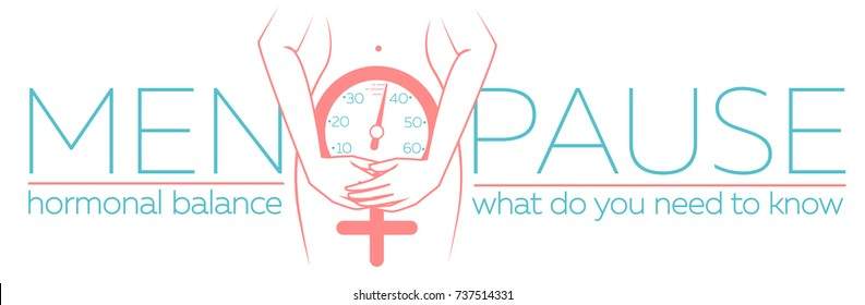 concept of menopause in the form of a silhouette of a woman with a clock measuring age. banner in a linear style with the inscription harmonic balance