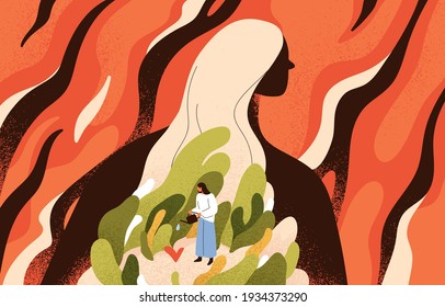 Concept of mental health, spiritual recovery, self-care and inner world development. Solving psychological problems and cultivating love to yourself. Colored flat textured vector illustration