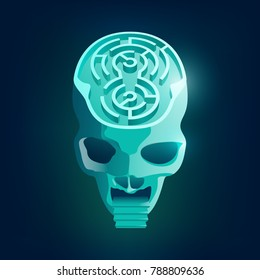 concept of mind trapping, a skull combined with circular maze