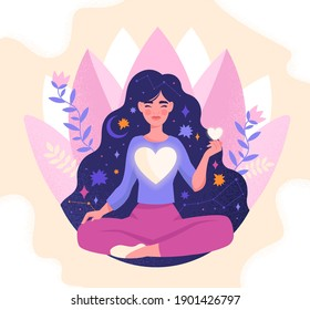 Concept of mindfulness, love and harmony with yourself. Girl with large glowing heart in her chest meditating. Female character sitting in lotos pose with closed eyes. Flat cartoon vector illustration