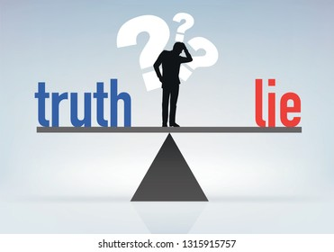 Concept of misinformation with a man who seeks and hesitates to choose between lying and truth