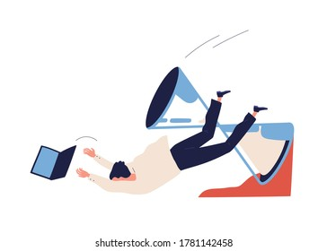 Concept of missing deadline, bad time management. Scene of failure, tired, exhausted man falls down with sandglass, clock. Time waste. Flat vector cartoon illustration isolated on white background