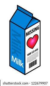 "Concept: missing love. Milk carton with a ""missing""  notice."
